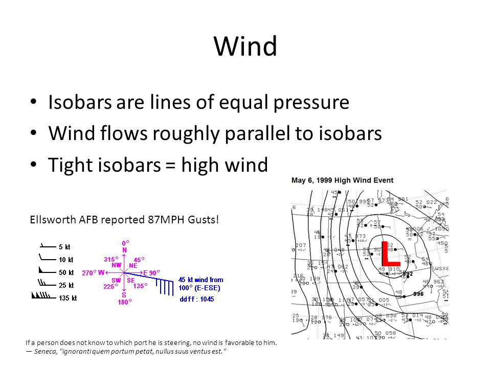 Wind Isobars are lines of equal pressure Wind flows roughly parallel to isobars Tight isobars = high wind Ellsworth AFB reported 87MPH Gusts.