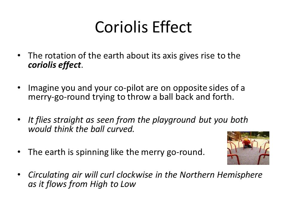 The rotation of the earth about its axis gives rise to the coriolis effect.