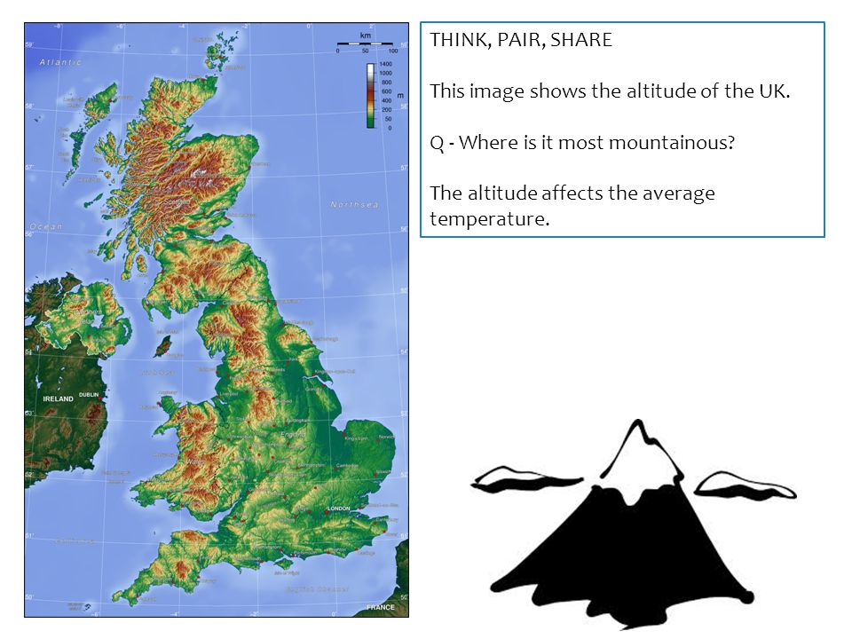 THINK, PAIR, SHARE This image shows the altitude of the UK. Q - Where is it most mountainous? The altitude affects the average temperature.