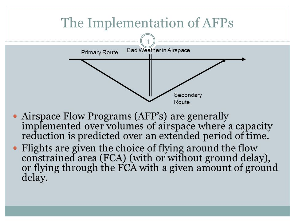 The Implementation of AFPs 4 Airspace Flow Programs (AFPs) are generally implemented over volumes of airspace where a capacity reduction is predicted