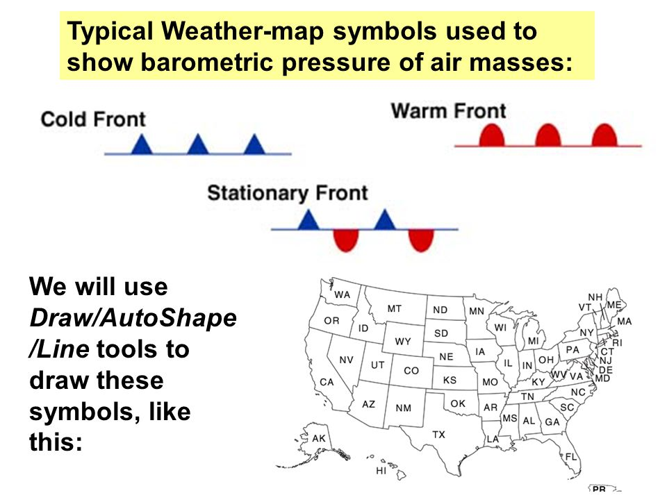 We will use Draw/AutoShape /Line tools to draw these symbols, like this: Typical Weather-map symbols used to show barometric pressure of air masses: