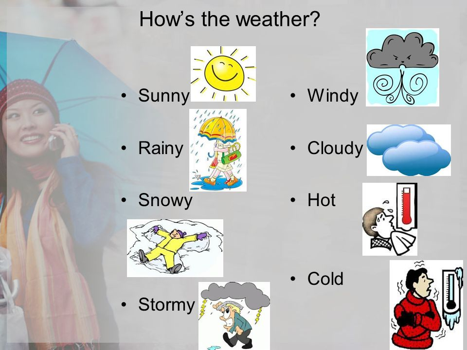 Hows the weather? Sunny Rainy Snowy Stormy Windy Cloudy Hot Cold
