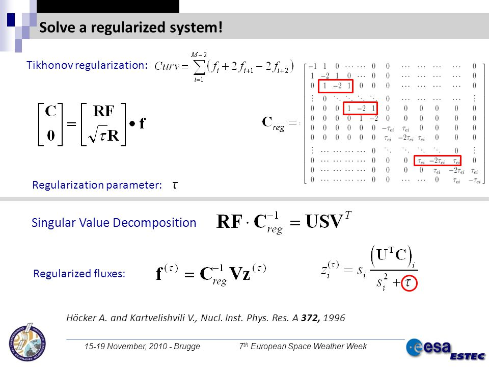 15-19 November, 2010 - Brugge 7 th European Space Weather Week Solve a regularized system! Regularization parameter: τ Tikhonov regularization: Regula