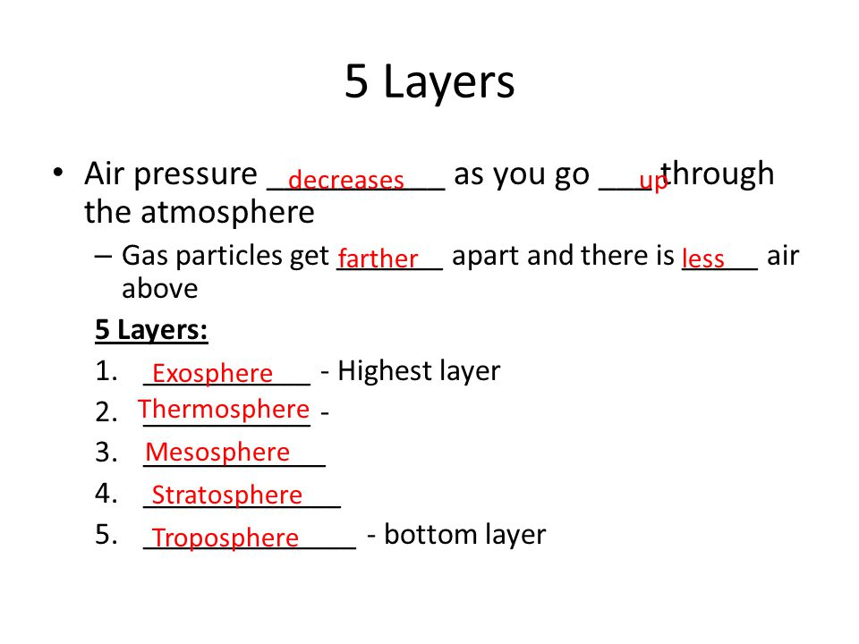 5 Layers Air pressure __________ as you go ___ through the atmosphere – Gas particles get _______ apart and there is _____ air above 5 Layers: 1._____