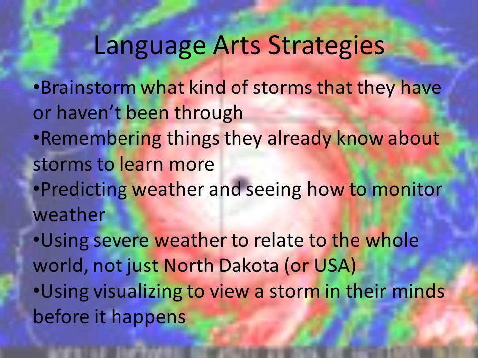Language Arts Strategies Brainstorm what kind of storms that they have or havent been through Remembering things they already know about storms to lea