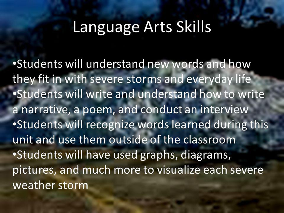 Language Arts Skills Students will understand new words and how they fit in with severe storms and everyday life Students will write and understand ho