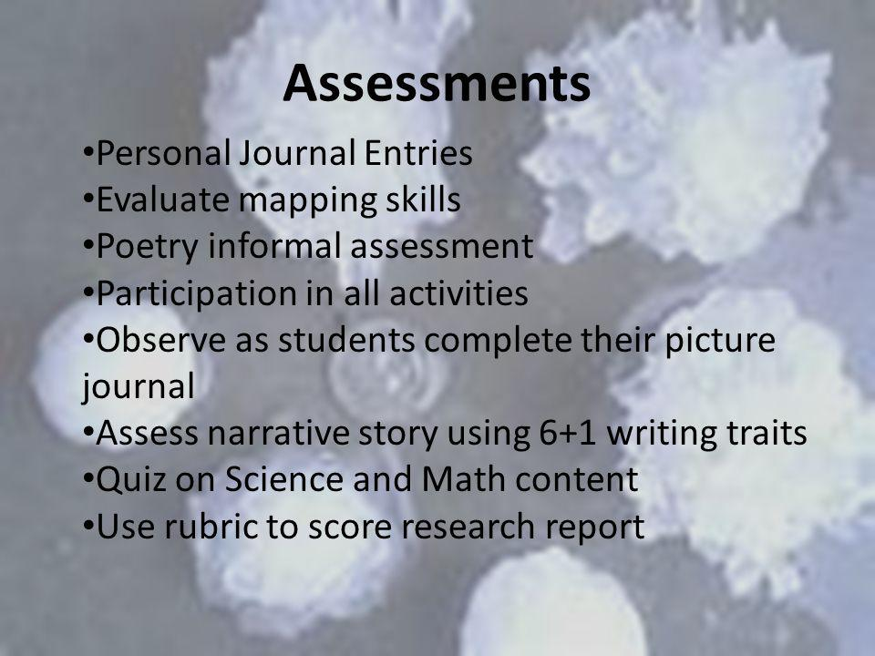 Assessments Personal Journal Entries Evaluate mapping skills Poetry informal assessment Participation in all activities Observe as students complete t