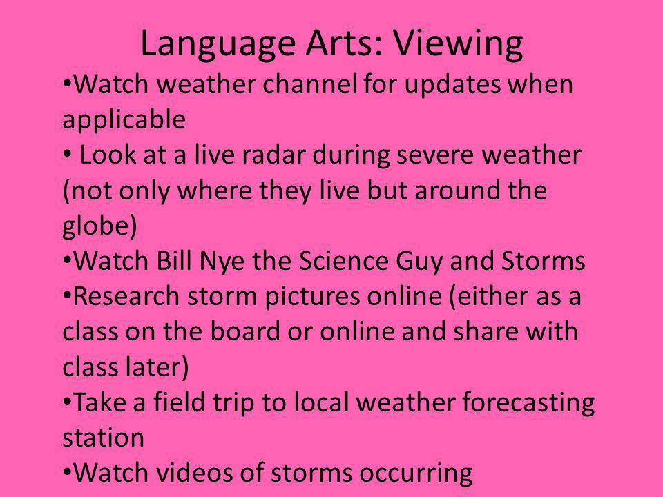 Language Arts: Viewing Watch weather channel for updates when applicable Look at a live radar during severe weather (not only where they live but arou