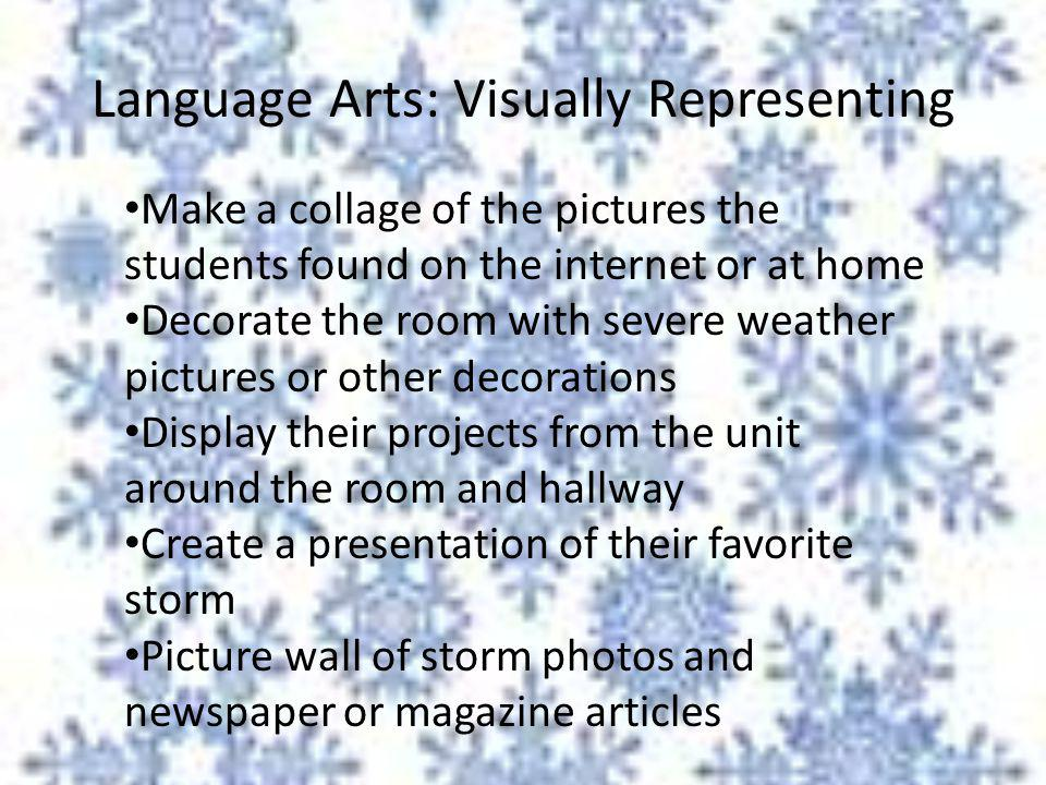 Language Arts: Visually Representing Make a collage of the pictures the students found on the internet or at home Decorate the room with severe weathe