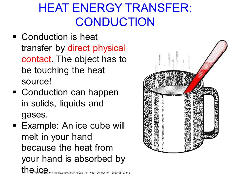 HEAT ENERGY TRANSFER: CONDUCTION http://commons.wikimedia.org/wiki/File:Cup_for_Heat_Conduction_2010-08-17.png Conduction is heat transfer by direct p