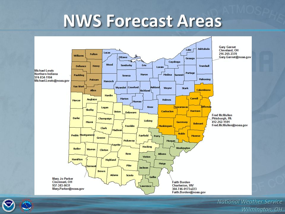 National Weather Service Wilmington, OH NWS Forecast Areas
