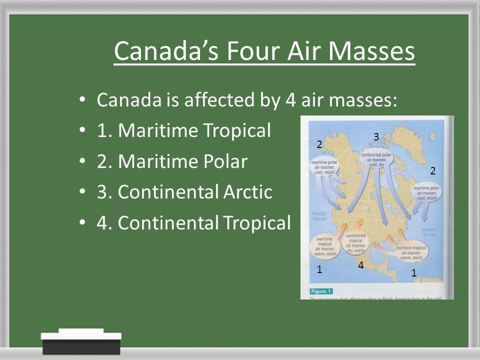 Canadas Four Air Masses Canada is affected by 4 air masses: 1. Maritime Tropical 2. Maritime Polar 3. Continental Arctic 4. Continental Tropical 1 1 2