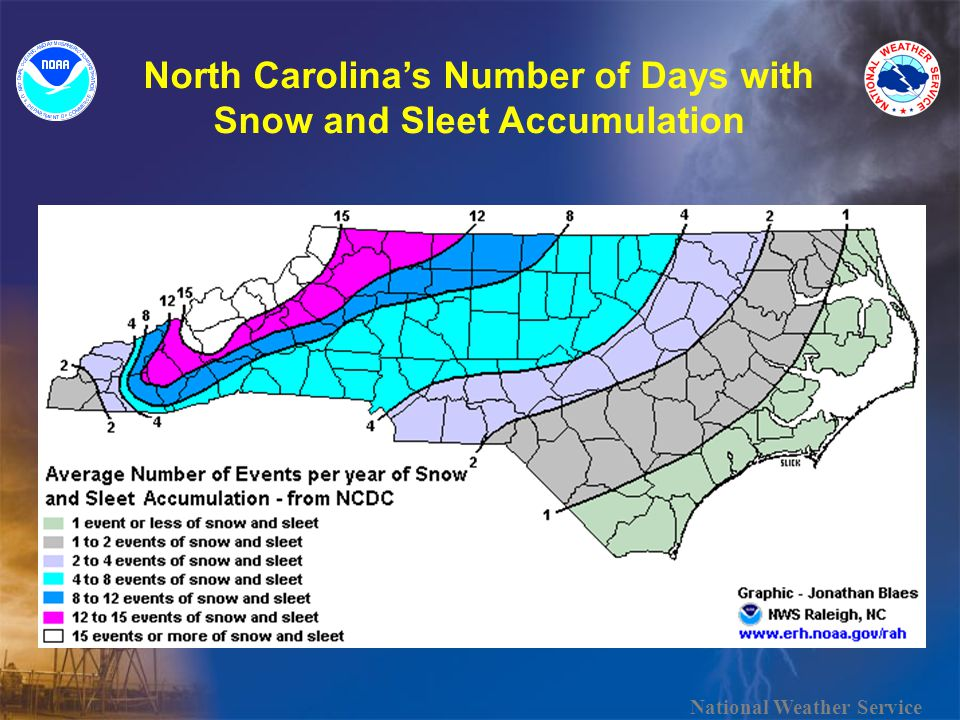 North Carolinas Number of Days with Snow and Sleet Accumulation National Weather Service