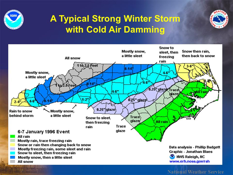 A Typical Strong Winter Storm with Cold Air Damming National Weather Service