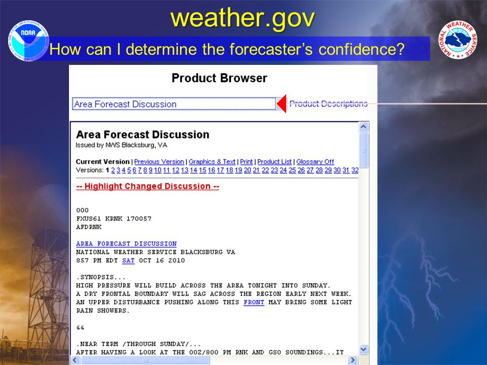 weather.gov How can I determine the forecasters confidence