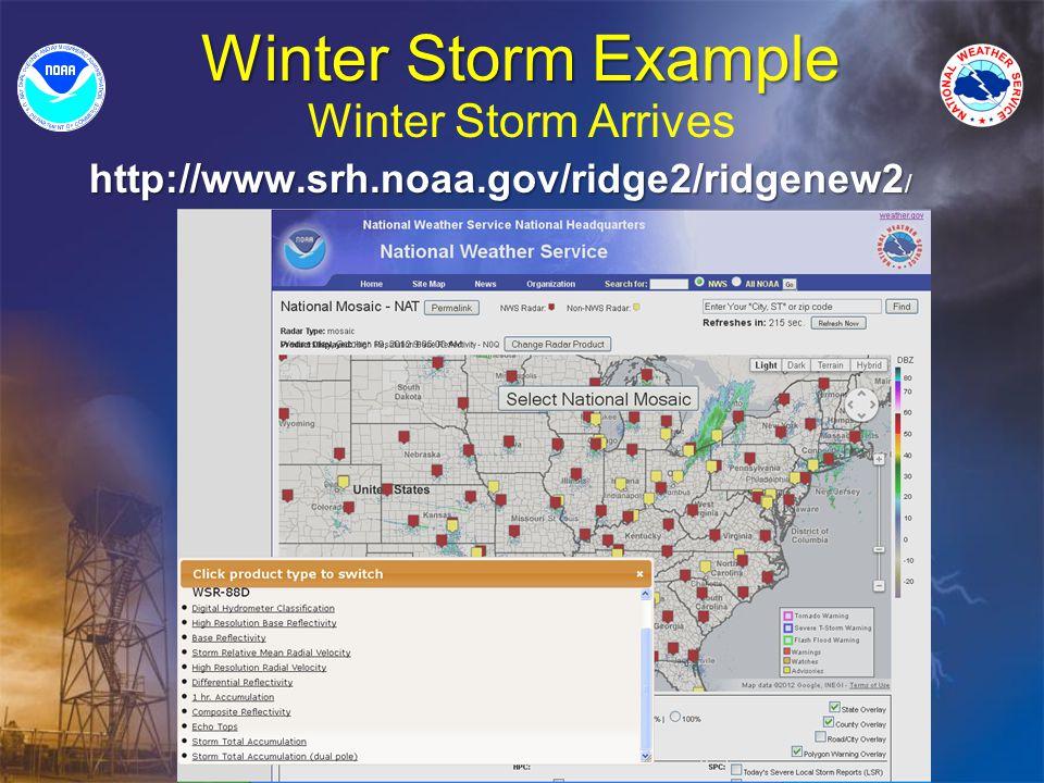 Winter Storm Example Winter Storm Arrives http://www.srh.noaa.gov/ridge2/ridgenew2 /