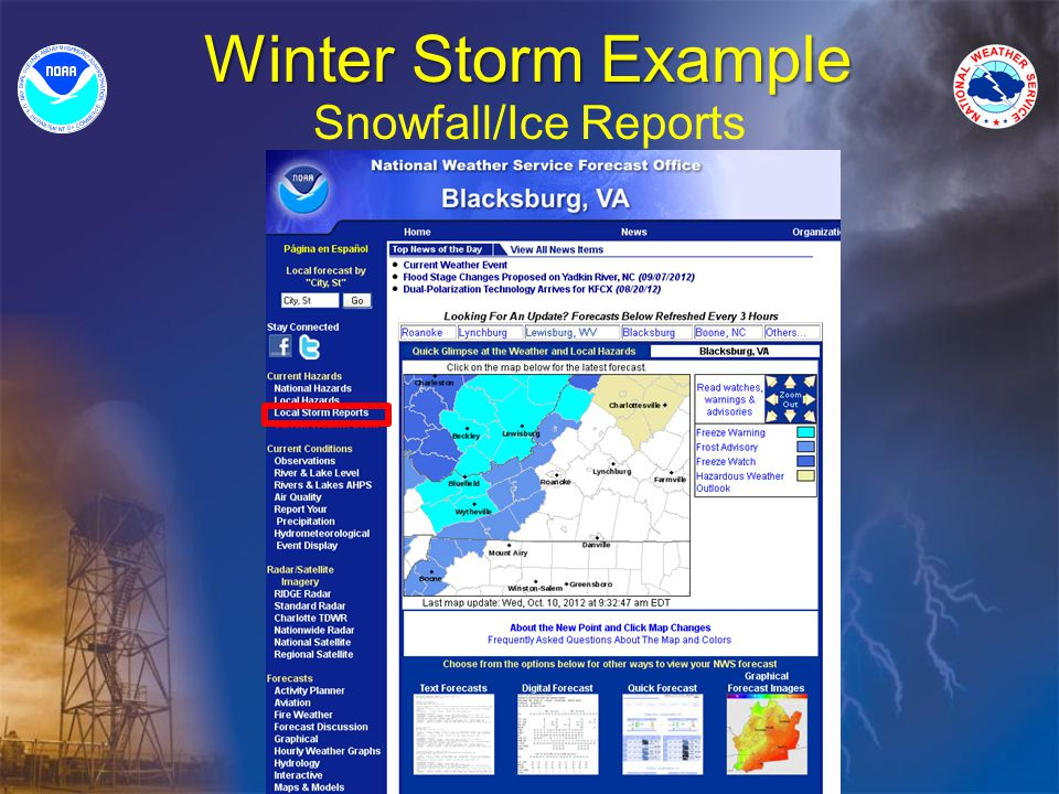Winter Storm Example Snowfall/Ice Reports