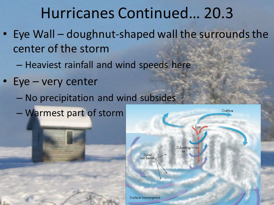 Hurricanes Continued… 20.3 Eye Wall – doughnut-shaped wall the surrounds the center of the storm – Heaviest rainfall and wind speeds here Eye – very center – No precipitation and wind subsides – Warmest part of storm