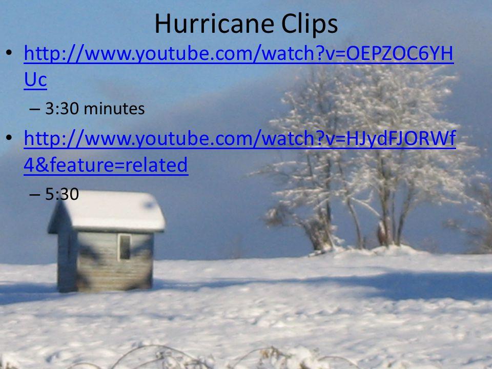 Hurricane Clips http://www.youtube.com/watch?v=OEPZOC6YH Uc http://www.youtube.com/watch?v=OEPZOC6YH Uc – 3:30 minutes http://www.youtube.com/watch?v=HJydFJORWf 4&feature=related http://www.youtube.com/watch?v=HJydFJORWf 4&feature=related – 5:30
