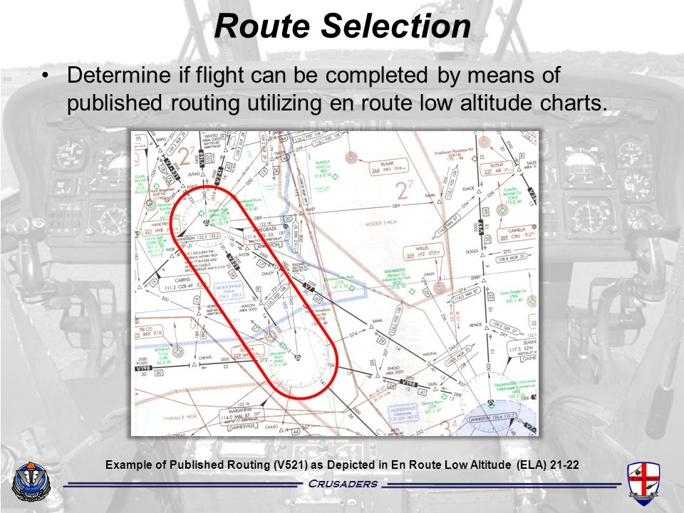 Crusaders Route Selection Determine if flight can be completed by means of published routing utilizing en route low altitude charts. Example of Publis
