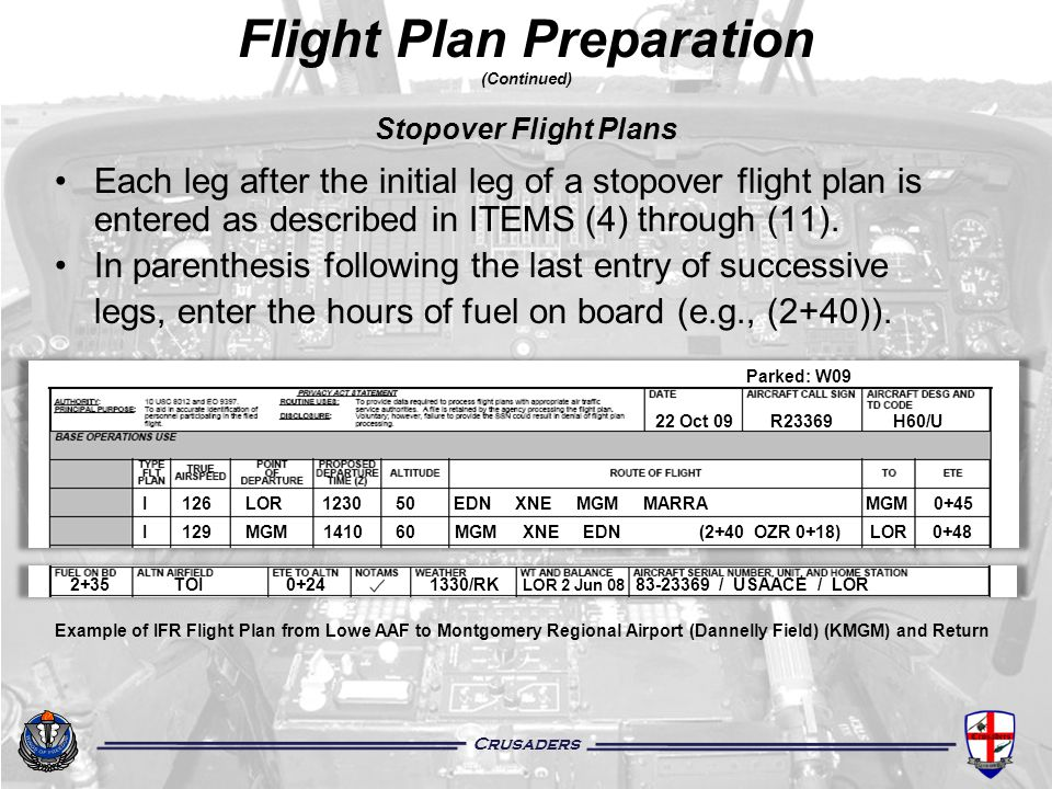 Crusaders Flight Plan Preparation (Continued) Stopover Flight Plans Each leg after the initial leg of a stopover flight plan is entered as described i