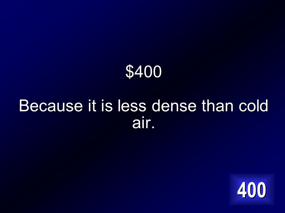 $400 Why does warm air rise above cool air? Answer…