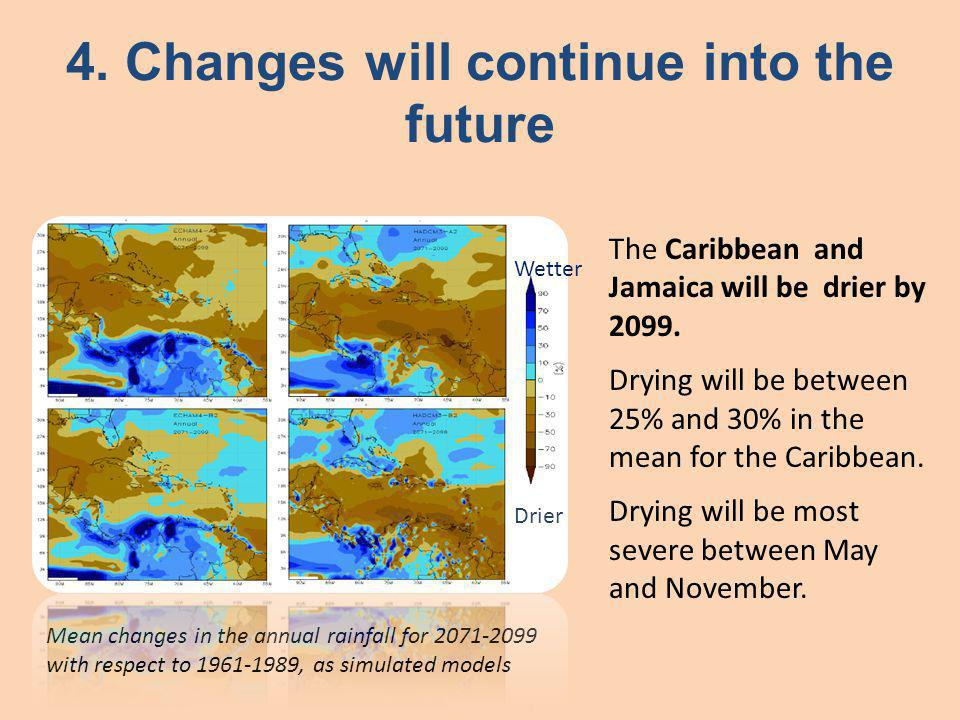 Mean changes in the annual rainfall for 2071-2099 with respect to 1961-1989, as simulated models The Caribbean and Jamaica will be drier by 2099.