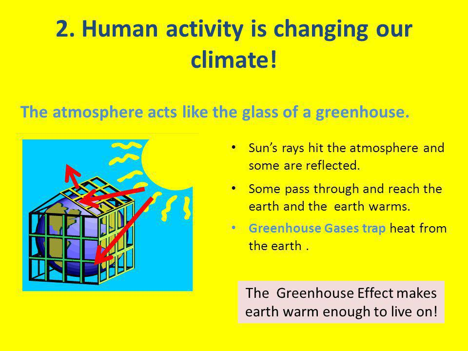 2. Human activity is changing our climate. The atmosphere acts like the glass of a greenhouse.