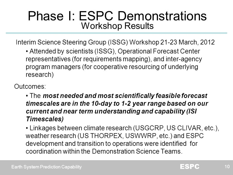 Earth System Prediction Capability ESPC 10 Interim Science Steering Group (ISSG) Workshop 21-23 March, 2012 Attended by scientists (ISSG), Operational