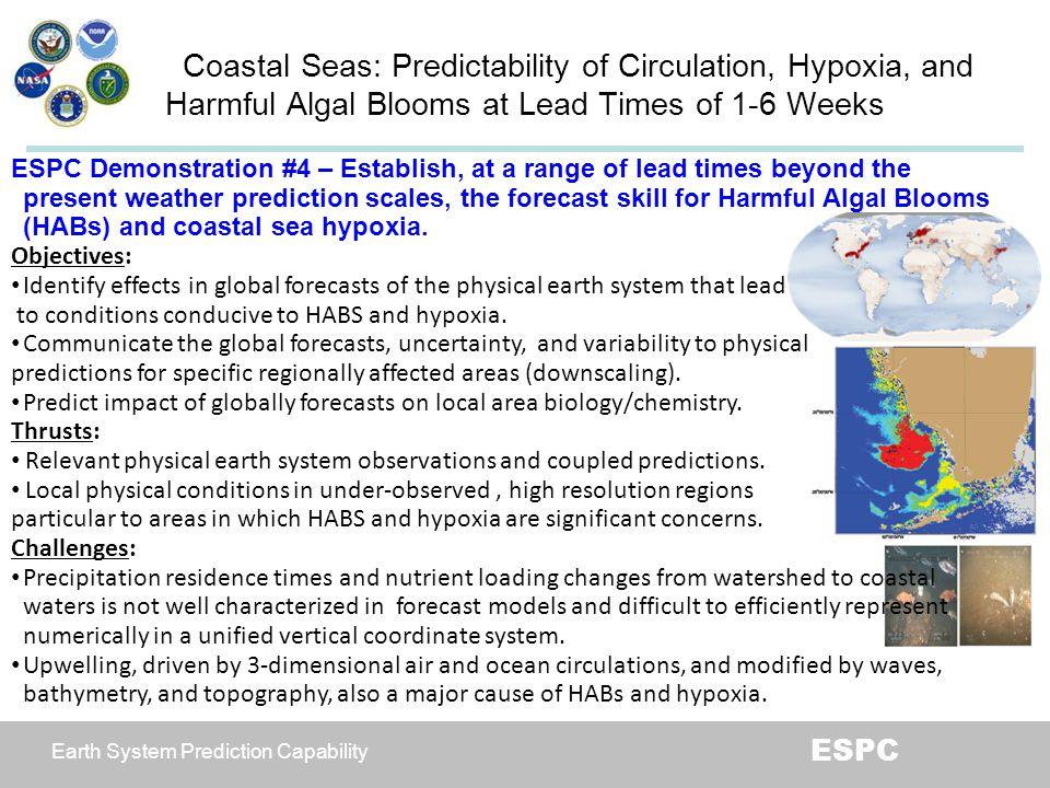 Earth System Prediction Capability ESPC Coastal Seas: Predictability of Circulation, Hypoxia, and Harmful Algal Blooms at Lead Times of 1-6 Weeks ESPC