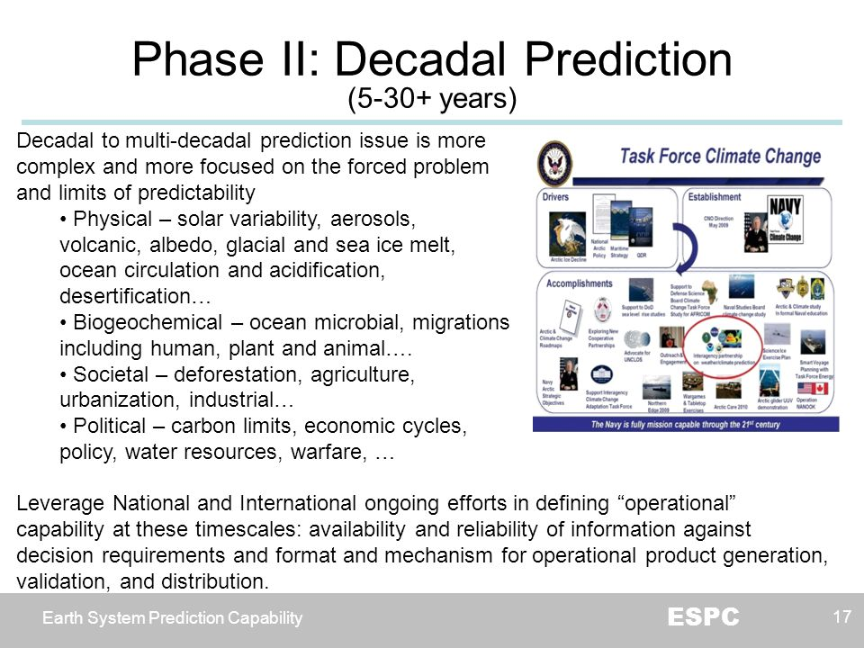 Earth System Prediction Capability ESPC Phase II: Decadal Prediction (5-30+ years) 17 Decadal to multi-decadal prediction issue is more complex and mo