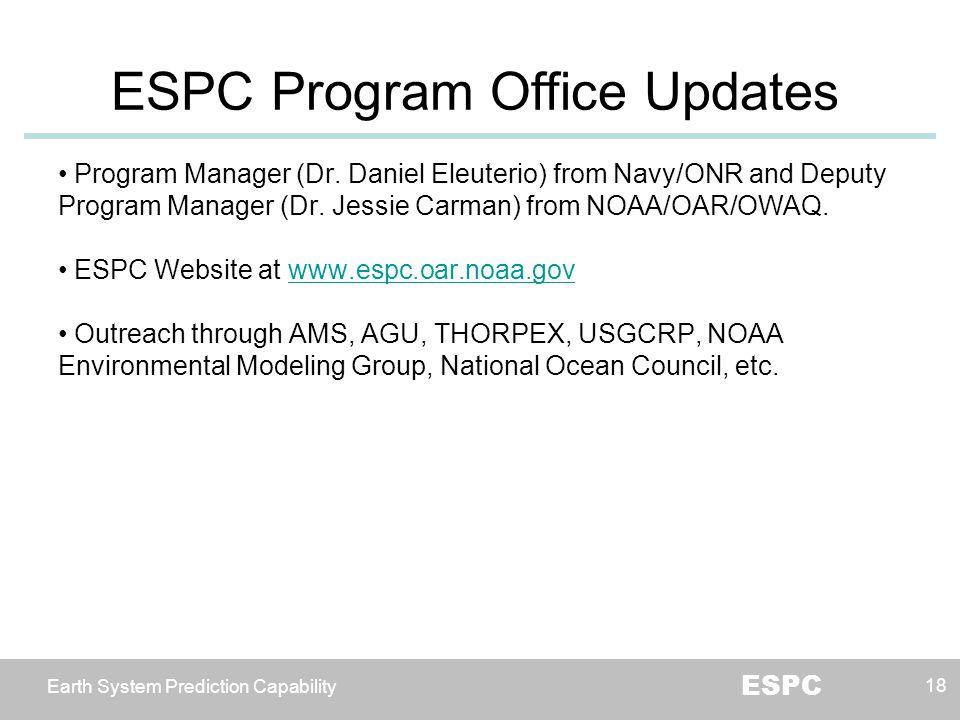Earth System Prediction Capability ESPC ESPC Program Office Updates 18 Program Manager (Dr. Daniel Eleuterio) from Navy/ONR and Deputy Program Manager