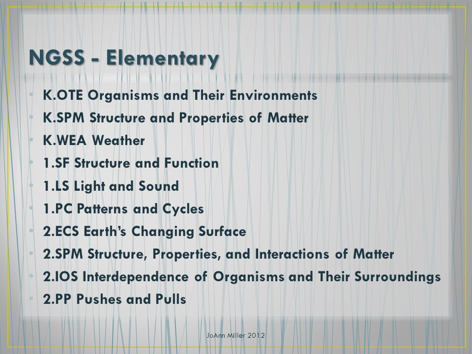 K.OTE Organisms and Their Environments K.SPM Structure and Properties of Matter K.WEA Weather 1.SF Structure and Function 1.LS Light and Sound 1.PC Patterns and Cycles 2.ECS Earths Changing Surface 2.SPM Structure, Properties, and Interactions of Matter 2.IOS Interdependence of Organisms and Their Surroundings 2.PP Pushes and Pulls JoAnn Miller 2012