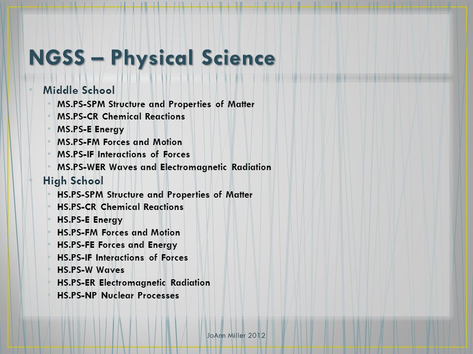 Middle School MS.PS-SPM Structure and Properties of Matter MS.PS-CR Chemical Reactions MS.PS-E Energy MS.PS-FM Forces and Motion MS.PS-IF Interactions of Forces MS.PS-WER Waves and Electromagnetic Radiation High School HS.PS-SPM Structure and Properties of Matter HS.PS-CR Chemical Reactions HS.PS-E Energy HS.PS-FM Forces and Motion HS.PS-FE Forces and Energy HS.PS-IF Interactions of Forces HS.PS-W Waves HS.PS-ER Electromagnetic Radiation HS.PS-NP Nuclear Processes JoAnn Miller 2012