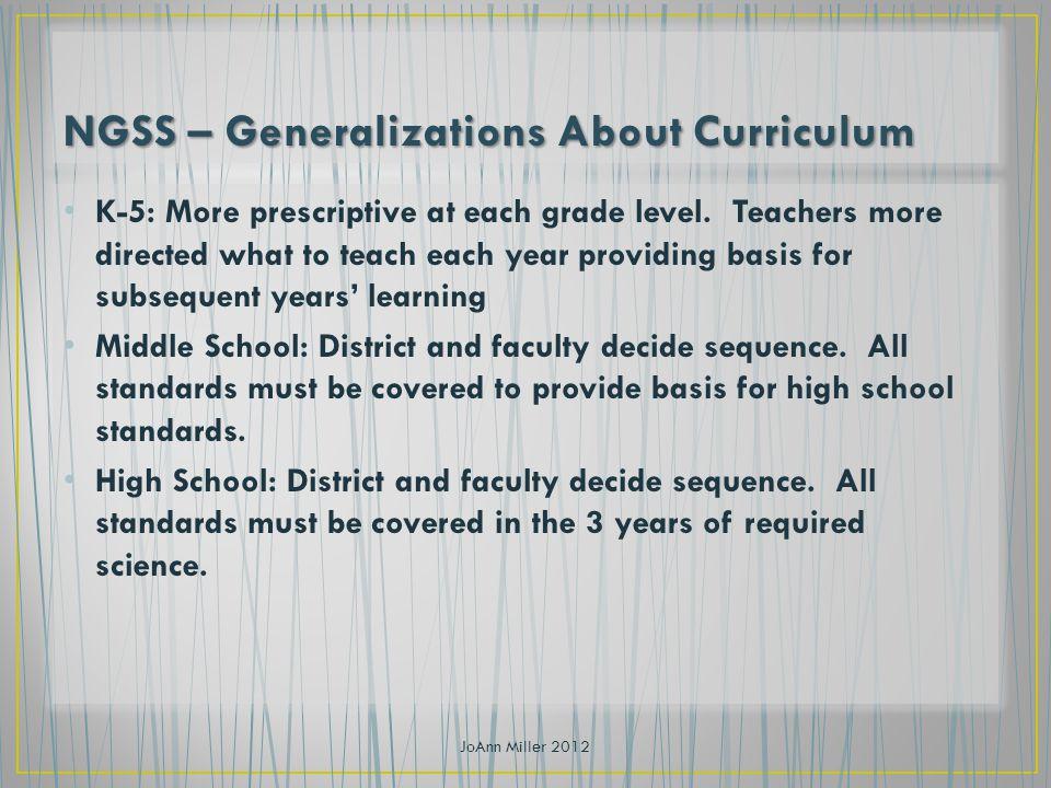 K-5: More prescriptive at each grade level.