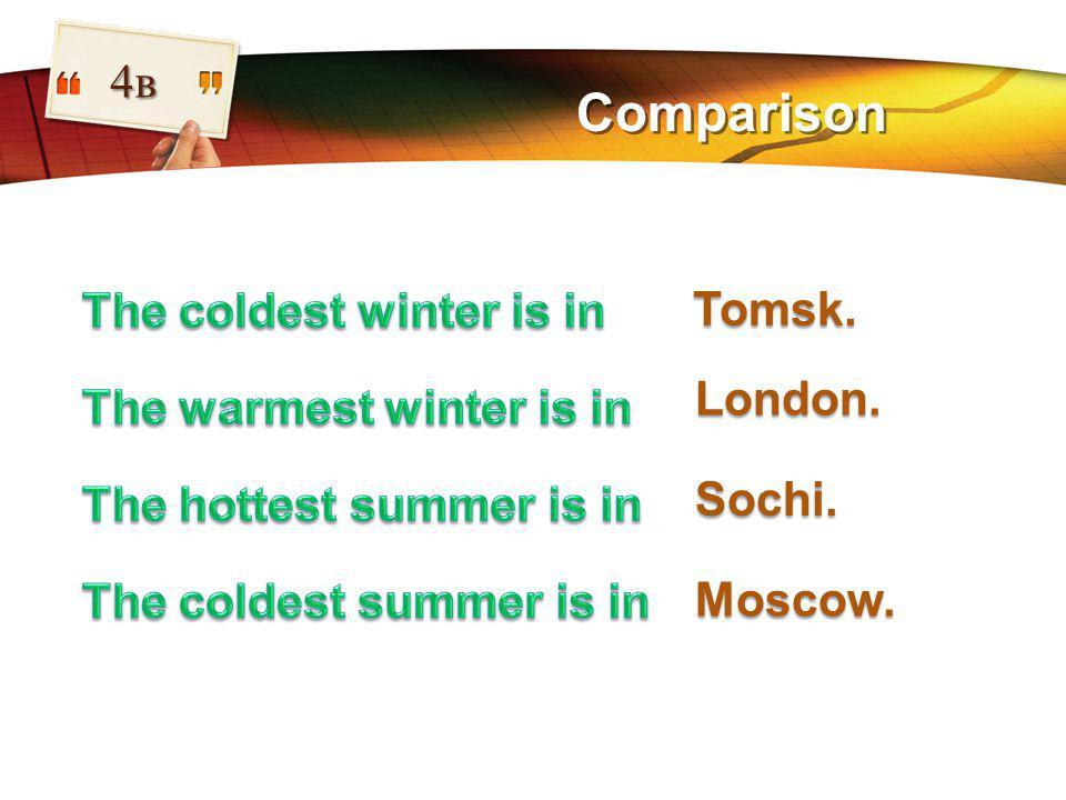 LOGO Comparison 4в Tomsk. London. Sochi. Moscow.