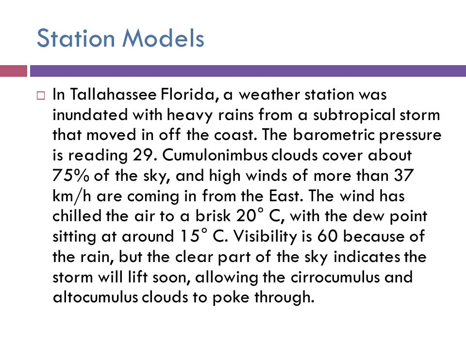 Station Models In Tallahassee Florida, a weather station was inundated with heavy rains from a subtropical storm that moved in off the coast. The baro