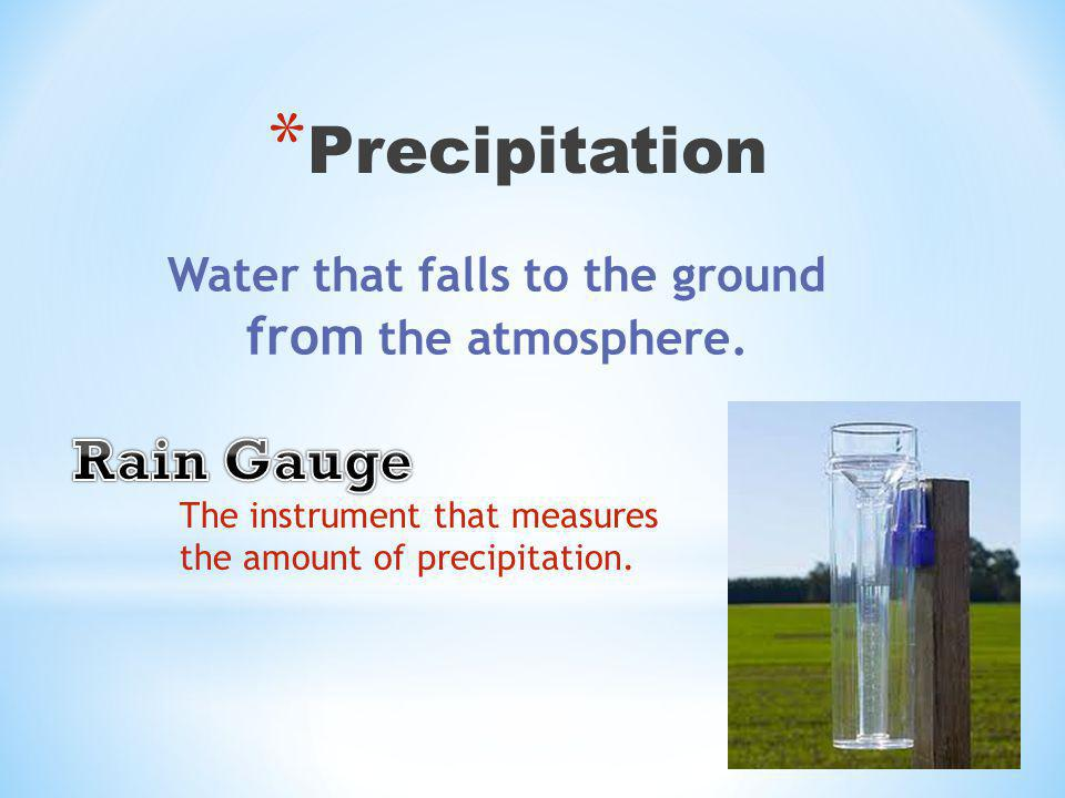 * Precipitation Water that falls to the ground from the atmosphere.