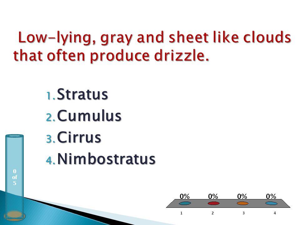 0 of 5 1. Stratus 2. Cumulus 3. Cirrus 4. Nimbostratus