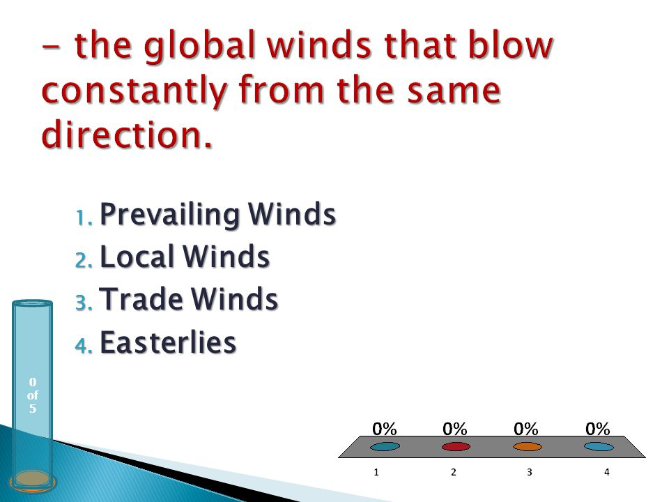 0 of 5 1. Prevailing Winds 2. Local Winds 3. Trade Winds 4. Easterlies