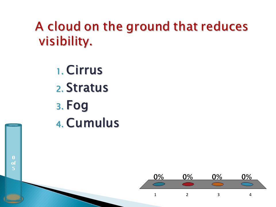 0 of 5 1. Cirrus 2. Stratus 3. Fog 4. Cumulus