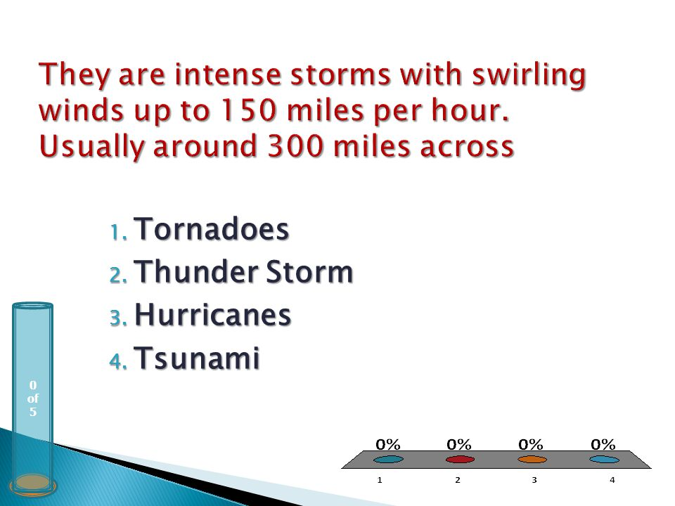 0 of 5 1. Tornadoes 2. Thunder Storm 3. Hurricanes 4. Tsunami