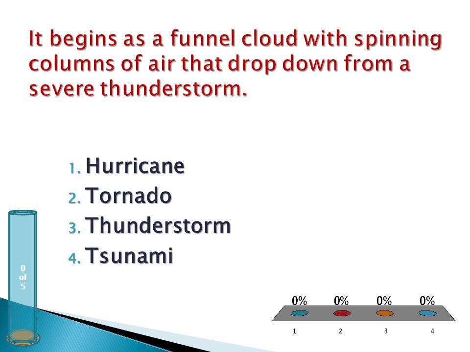 0 of 5 1. Hurricane 2. Tornado 3. Thunderstorm 4. Tsunami
