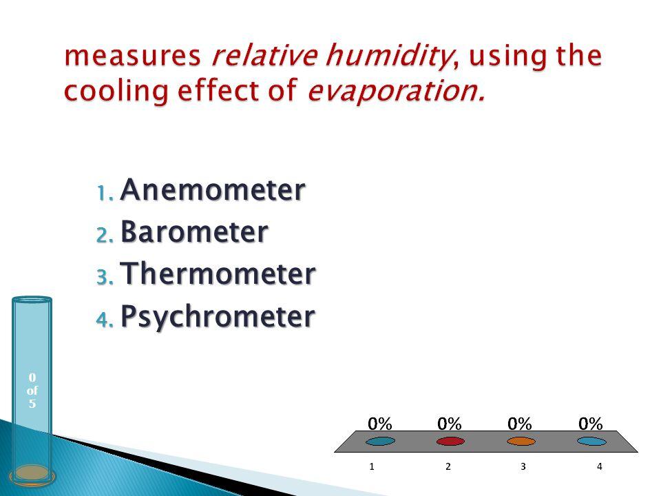 0 of 5 1. Anemometer 2. Barometer 3. Thermometer 4. Psychrometer