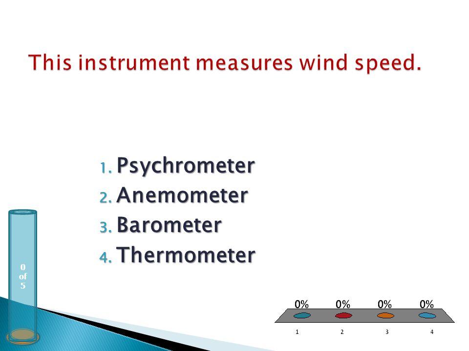 0 of 5 1. Psychrometer 2. Anemometer 3. Barometer 4. Thermometer