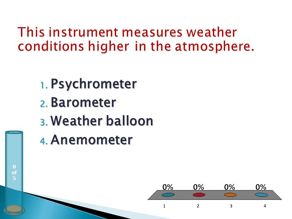 0 of 5 1. Psychrometer 2. Barometer 3. Weather balloon 4. Anemometer
