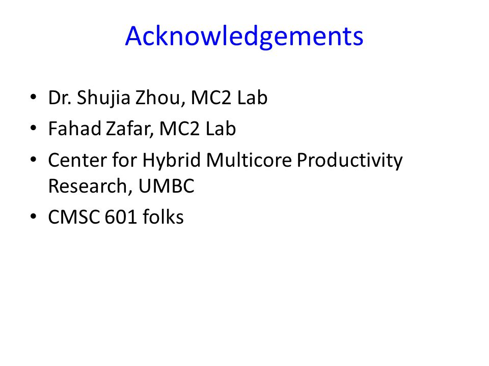 Acknowledgements Dr.