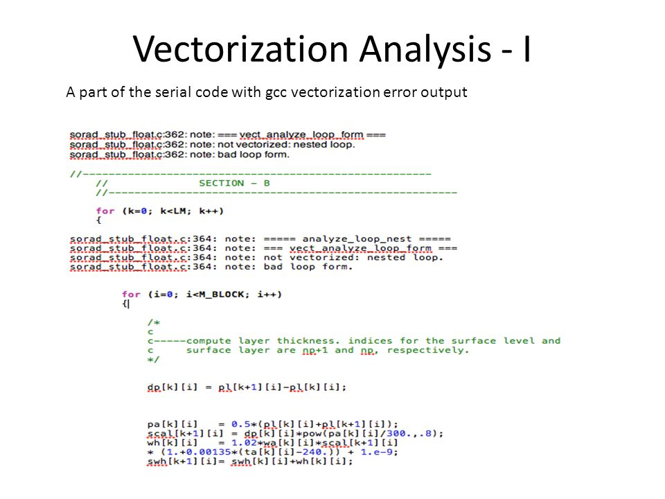 Vectorization Analysis - I A part of the serial code with gcc vectorization error output