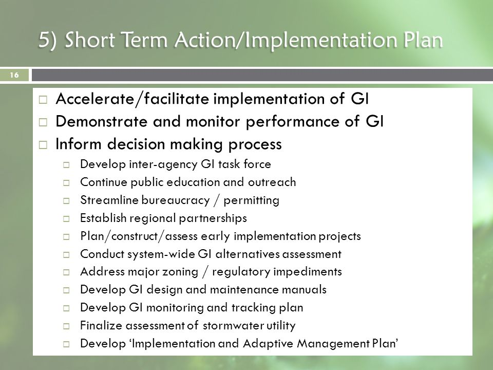 5) Short Term Action/Implementation Plan Accelerate/facilitate implementation of GI Demonstrate and monitor performance of GI Inform decision making p