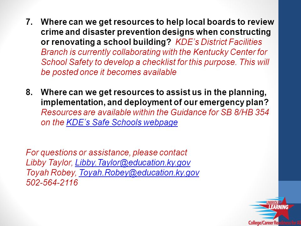 7.Where can we get resources to help local boards to review crime and disaster prevention designs when constructing or renovating a school building.